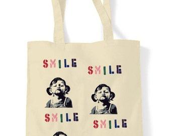 Banksy Smile Shopping Bag