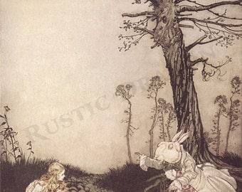 "Arthur Rackham ""Why, Mary Ann, What Are You Doing Out Here"" 1907 Reproduction Digital Print Rabbit Alice In Wonderland"