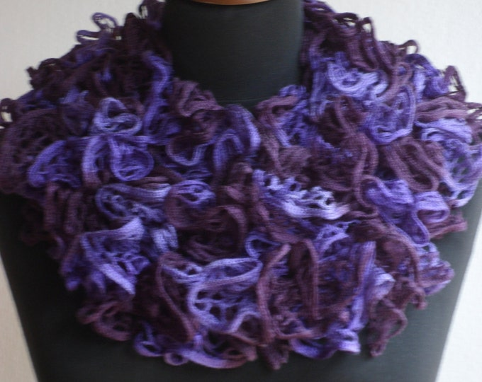Ruffle scarf, Frilly scarf, Knitted scarf, Purple scarf, Fashion scarf, Mother's Day gift, Spring Accesories, Clearance sale!!! REAY TO SHIP