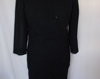 Vintage black dress by A Paquerette Model Black Beaded wiggle pencil Dress Size UK 12 Medium