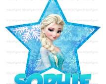 Frozen Iron On Tshirt Transfer - File - Printable - Elsa - Digital - shirt - personalized - customized - Star