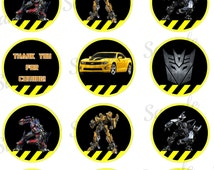"""Transformers 2"""" Cupcake Topper - Robot Printable - Digital - Birthday Party -  Instant Download - Birthday Tag"""