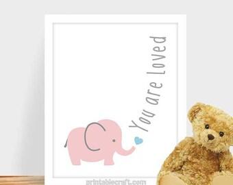Safari Animal, Kids Art for Children Playroom, You are loved, Jungle Baby Nursery Decor, Elephant Kids Decor, Jpeg
