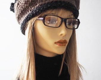 HADLEY Chunky knit brown hat, Ready to ship, Taupe, gray hat, Crochet cloche hat, Woman taupe crown, Teen girl hat, OOAK hat,