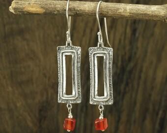 Rectangle Earrings, Carnelian Gemstone Earrings, 925 Sterling Silver, Dangle Earrings, Rectangular, Square, Vintage Style X243