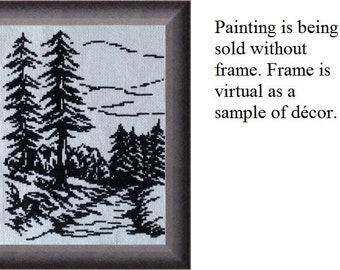 Winter landscape, monochrome - Painting embroidered cross - Home Decor - cross-stitch