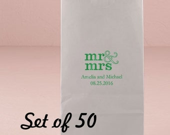 Personalized Wedding Favor Bag - Wedding Favor - Mr and Mrs Bag - Favor Bag- Self Standing Favor Bag - Set of 50 - Colored Paper Bag