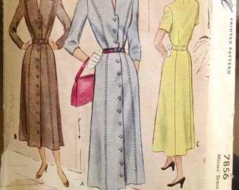 McCall 7856 - 1940s Dress with Top Stitch Detailing on Notched Collar Shirt Dress - Size 18