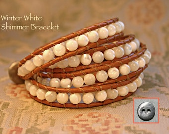 Leather Wrap Bracelet, Mother of Pearl 6mm Round Stones, Wraps 4x, Semiprecious stone,Handmade, Soft Henna Leather, Handmade Pewter Button