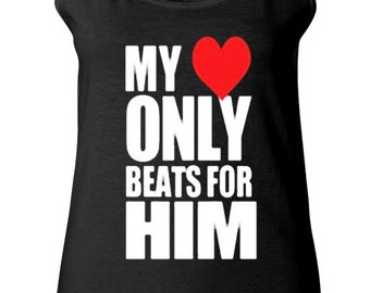 Couple Tank Top - My Heart only Beats for Him - Custom Matching Love Tank Tops for Couples