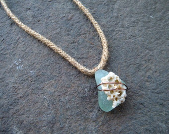 Pale blue necklace, sea glass and shell necklace, layered, vacation jewelry, stacked pendant, beach glass, beach treasures, copper wire