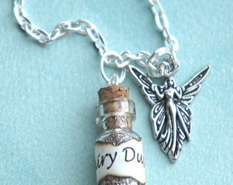 fairy dust necklace-bottle necklace, potion pendant