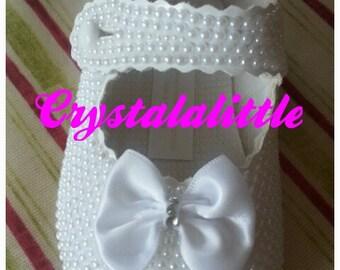 Ivory Pearl pram shoes Custom Made