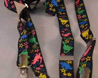 Vintage Children's Dinosaur Snapping Adjustable Suspenders