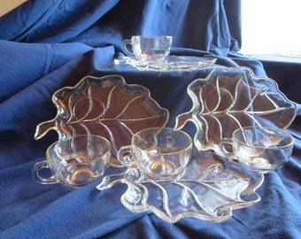 Vintage  Brown Lynch Scott Company leaf shaped snack plates with matching teacups