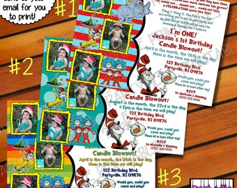 Dr. Seuss BIRTHDAY INVITATION Dr. Seuss inspired invites Cat in the hat 3 photos 1st Birthday candle blowout 2 styles to choose from