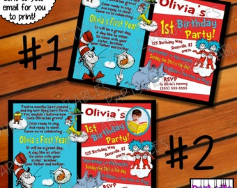 Dr. Seuss BIRTHDAY INVITATION Dr. Seuss inspired invites Cat in the hat photo 1st Birthday Party 2 styles to choose from