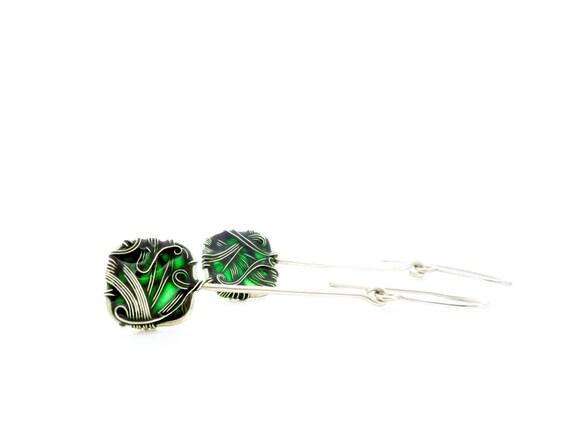 Emerald Green Earrings. Sterling Silver Earrings. Wire Wrapped Earrings. Square Earrings. Unique Earrings. Lightweight  Earrings.