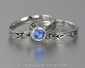 size 7.75 Ready to ship - AUGUSTA 14K gold ring with Blue Sapphire and matching band set