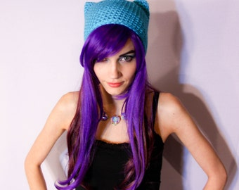 Bright Cerulean Blue Kitty Ear Beanie - Crocheted Cat Hat, Super Soft Vegan Friendly Acrylic Yarn