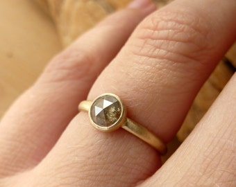 Rose Cut Diamond Ring with Half-Round Band - Deposit
