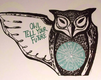 Wise Owl Will Tell Your Future Interactive Glow In The Dark Art Hand Printed Original Limited Edition Folk Art Halloween Game Mystic Magic