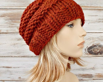 Burnt Orange Beanie Chunky Knit Hat Womens Hat Mens Hat - Beehive Beanie - Burnt Orange Hat Womens Accessories Winter Hat
