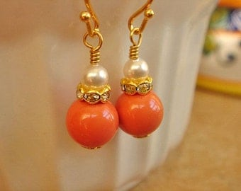 Coral White Pearl Earrings Bridesmaid Earrings White Pearl Earrings Gold Dangle Earrings Wedding Jewelry