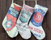 Vintage Seed Sack Christmas Stocking - Holiday Stocking -  Producer Seeds - Feedsack Stocking