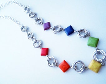 Rainbow Stone Mobius Chainmaille Necklace Handmade