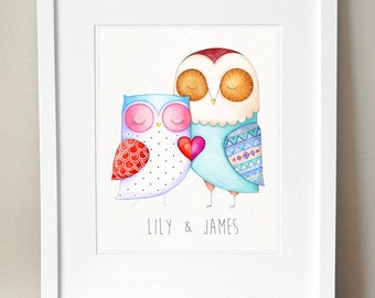 LOVE BIRDS - Valentine's Gift For Him or For Her - Personalized Couple Wall Art Print - Unique Love Present - Heart Home Decor