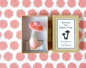Mushroom Brooch (pink cap) - Felt Needle Felting Fall Felted Miniature Forest Plush Pin Biology