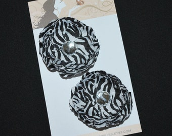 Zebra Flower Hair Clip Set - Buy 3 Items, Get 1 Free