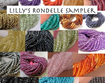 Natural Gemstone Beads, Rondelle Sampler, 10 Sets of 20 Rondelles, You Choose the stones! Tiny Gemstones, Mixed Lot, Faceted Gemstones