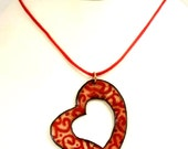 Red Heart Pendant, Paisley Open Heart Necklace, Reversible Enameled Heart Jewelry