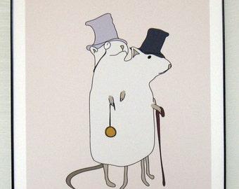 """Dapper Siamese Rats 8.5"""" x 11"""" print"""