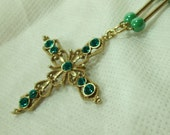Necklace, Emerald Green Crystals Cross Necklace,  Green Pearls Set in Gold, Cross Necklace, Cristian Gift, Womens Easter Gift