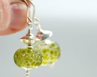 Apple Green Earrings, Leaf Green Jewelry, Garden Wedding, Bridal Jewelry, Summer Earrings, Garden Party, Silver Earrings
