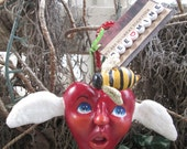 Winged Valentine Heart and Bumble Bee Ornament by Creativelyjuiced REDUCED PRICE