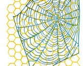 Web & Honeycomb original linocut printmaking print, 12 x 18 inches