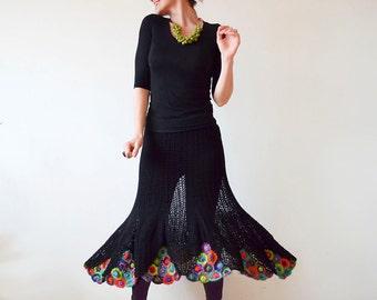 Plus Size Clothing Summer Black Crochet Women's Skirt - MADE TO ORDER