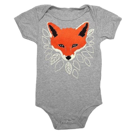 Fox Baby One Piece Bodysuit Romper Jumper Adorable Woodland Forest Animal Nature Fantastic Mr Fox Heather Grey Onesie