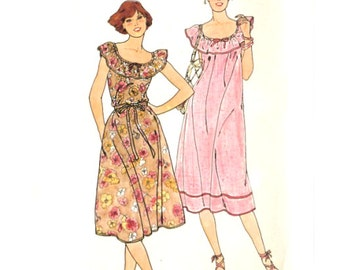 Easy Pullover Dress Elastic Scoop Neck Ruffle - Vintage Sewing Pattern Butterick 6105 - Size 16-18 / Bust 38-40 Uncut