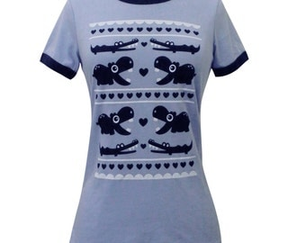 Hippo Crocodile T-Shirt - Blue Vintage Ringer Shirt - Size Small - CLEARANCE