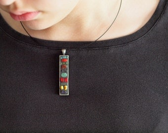 Mosaic Necklace READY to SHIP Pendant Necklace Colorful TurquoiseCoral Semiprecious Pendant One of a Kind Modern Jewelry Best Friend Gift