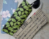 Sunglass Case, Eyeglass Case, Blue Floral Chintz Fabric Eyeglass Sleeve, Green Leaf Fabric, Asian Print Fabric,Choice of 3 Sunglass Cases