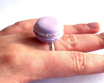 French Macaron Ring, Macaroon Ring, Kawaii Macaron Cookie Ring, Polymer Clay Miniature Food Jewelry