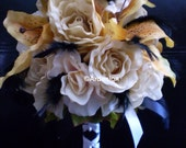 Reserved For  jessieduval74 Custom Wedding RUSH Order STEAMPUNK VINTAGE Wedding Bouquet With Black Feather Accents