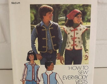 Vintage 70's Sewing Pattern, Unlined Vests, His and Hers, Size Medium
