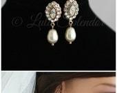 Rose Gold Bridal Earrings  Pearl Drop Bridal Earrings Simple Wedding Earrings Swarovski Crystal Earrings MAE DROP